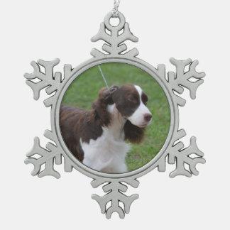Sweet Springer Spaniel Snowflake Pewter Christmas Ornament