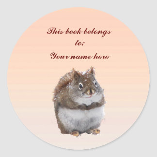 Sweet Squirrel Bookplate Round Stickers