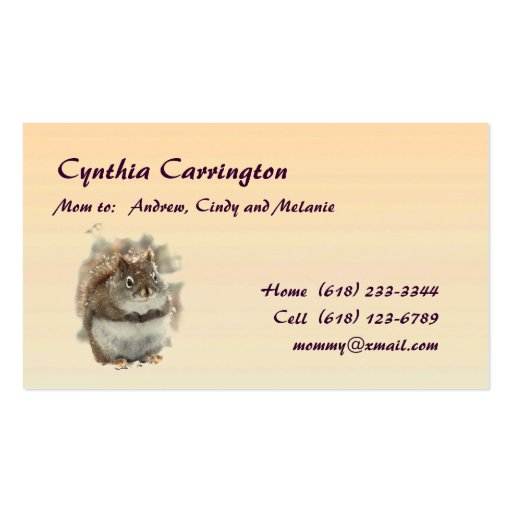 Sweet Squirrel Mommy Double-Sided Standard Business Cards (Pack Of 100)
