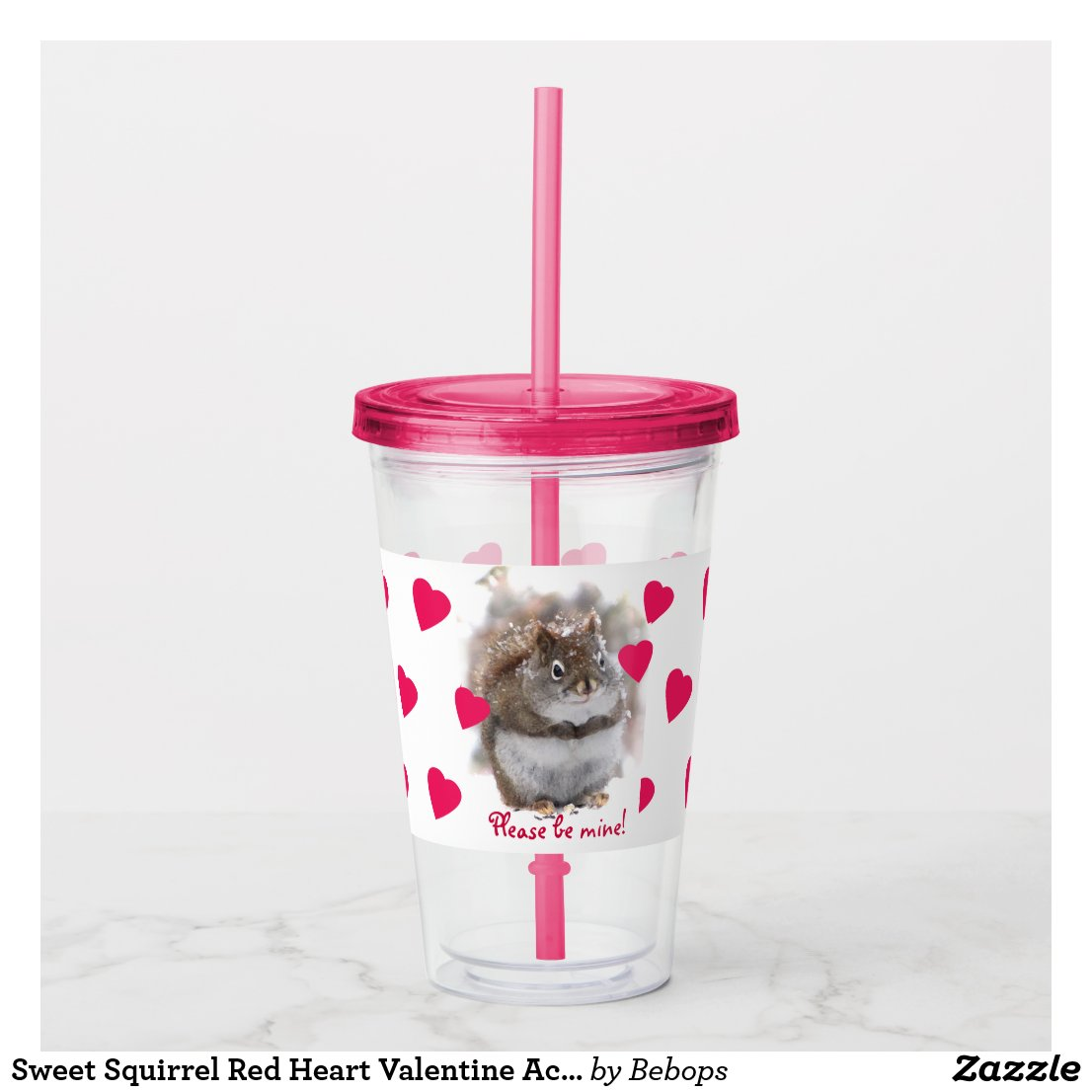 Sweet Squirrel Red Heart Valentine Acrylic Tumbler