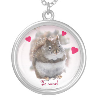 Sweet Squirrel Valentine Silver Plated Necklace