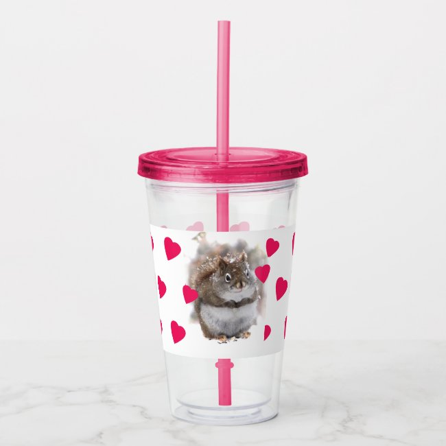 Sweet Squirrel with Red Hearts Acrylic Tumbler