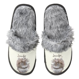 Sweet Squirrels in Snow Pair of Fuzzy Slippers