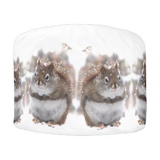 Sweet Squirrels Pouf Round Pouf