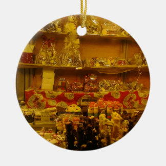 Sweet Stall at German Christmas Market, Manchester Double-Sided Ceramic Round Christmas Ornament