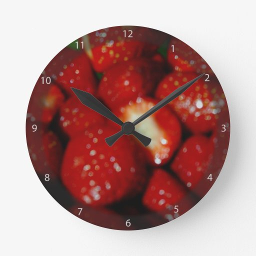 Sweet strawberries in the grocery wall clocks