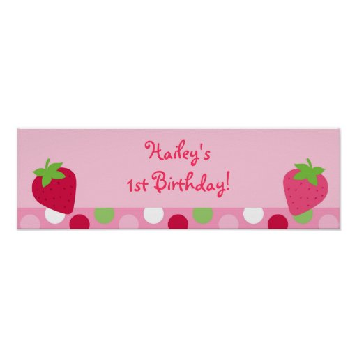 Sweet Strawberry Baby Shower Banner Sign Poster