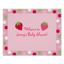 Sweet Strawberry Baby Shower Sign Poster