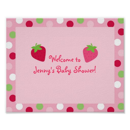 Sweet Strawberry Baby Shower Sign Posters