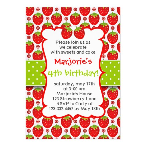 Sweet Strawberry Birthday Party Invitation