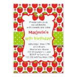 "Sweet Strawberry Birthday Party Invitation 5"" X 7"" Invitation Card"