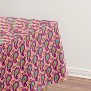 Sweet Strawberry Bright Pink Mint Paisley Pattern Tablecloth