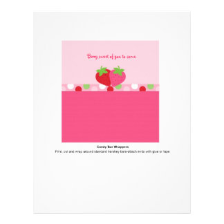 """Sweet Strawberry Candy Bar Wrappers 8.5"""" X 11"""" Flyer"""