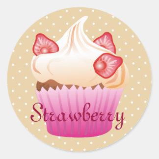 Sweet strawberry cupcake classic round sticker