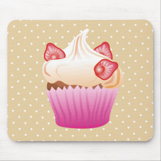 Sweet strawberry cupcake mouse pad