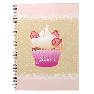 Sweet strawberry cupcake notebook