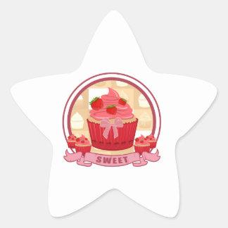 Sweet Strawberry Cupcake Star Sticker