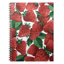 Sweet Strawberry Fabric Print Notebook