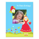 Sweet strawberry girl party time custom invitation