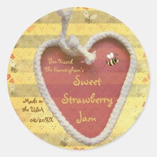 Sweet Strawberry Jam Jar Label (Customize) Classic Round Sticker