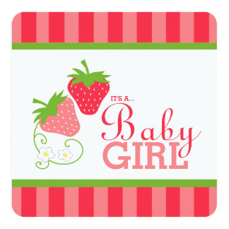 Sweet Strawberry Pink and Green Baby Shower Card