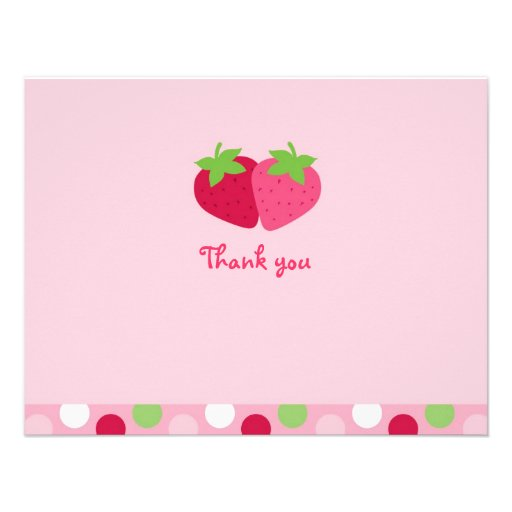 Sweet Strawberry Thank You Note Cards Custom Invitations