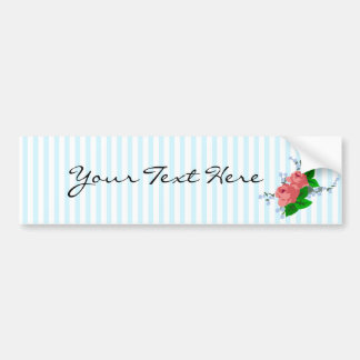 Sweet Stripes and Roses Car Bumper Sticker