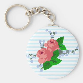 Sweet Stripes and Roses Key Chains