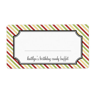 Sweet stripes candy buffet holiday label