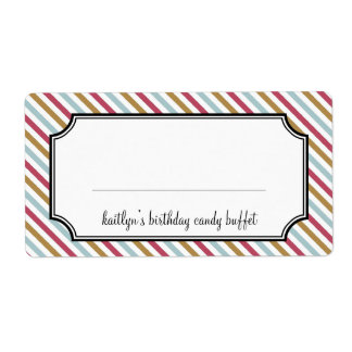 Sweet stripes candy buffet custom shipping labels