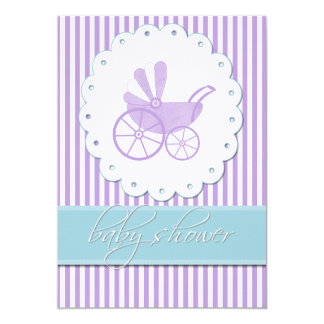 Sweet Stripes n Carriage Baby Shower Invitation