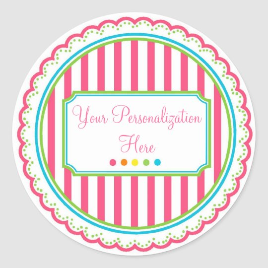 Sweet Stripes Stickers- Hot Colors Classic Round Sticker