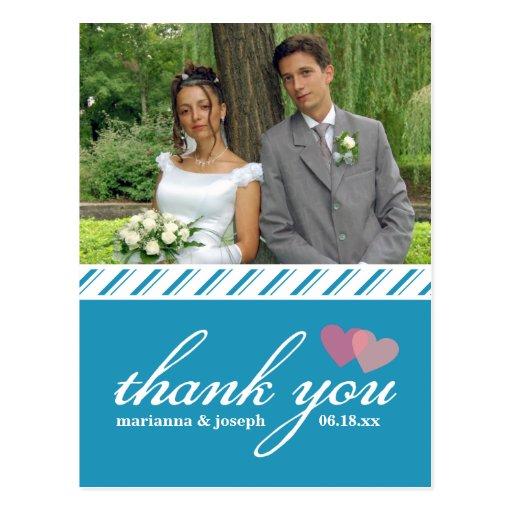 Sweet Stripes Thank You Wedding Photo Postcard