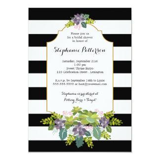 Sweet Succulent Floral Garden Bridal Shower 5x7 Paper Invitation Card