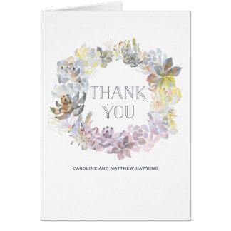 Sweet Succulents Wedding Thank You Card