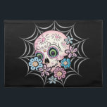 """Sweet Sugar Skull Placemat<br><div class=""""desc"""">Dia de los Muertos (Day of the Dead) sugar skull designed in pastel colors with flowers set on a spider web.</div>"""