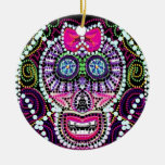 Sweet Sugar Skull With Pink Bow Double-Sided Ceramic Round Christmas Ornament