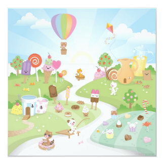 Sweet summer paradise! 5.25x5.25 square paper invitation card