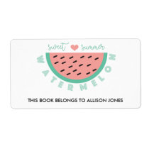 Sweet Summer Watermelon Back to School Book Label