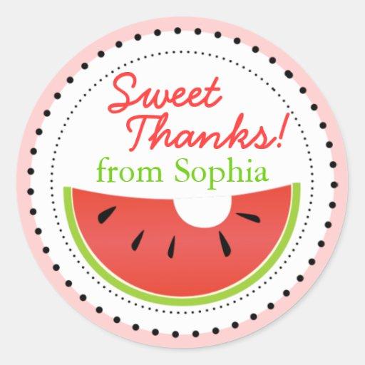 Sweet Summer Watermelon Thanks Stickers