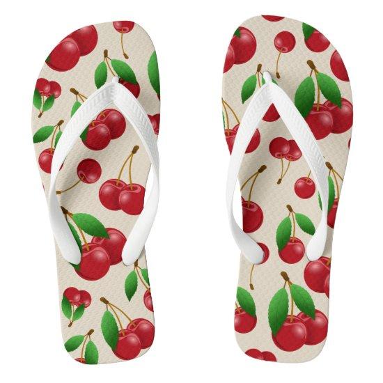 sweet summertime cherries flip flops