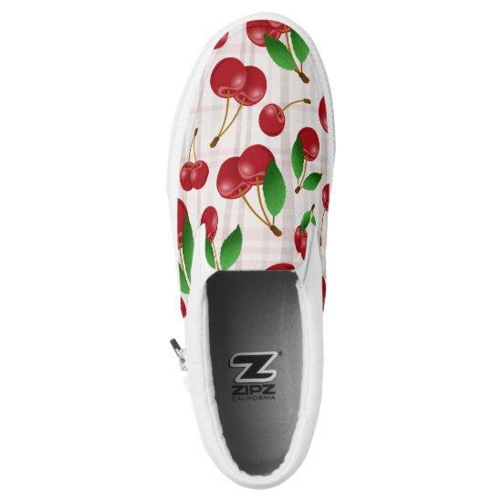 sweet summertime cherries on faded pastels plaid Slip-On sneakers