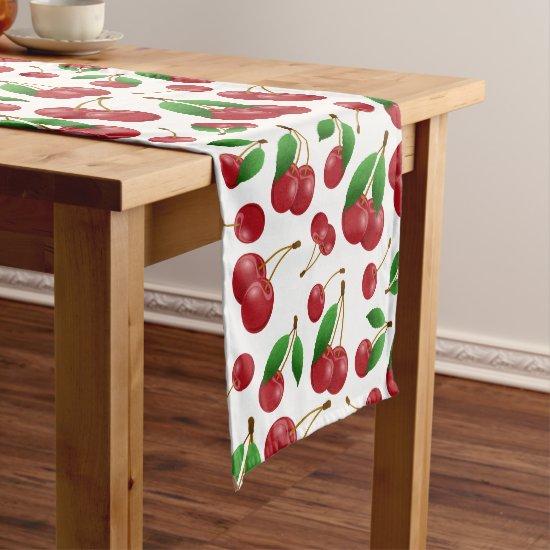 sweet summertime cherries short table runner