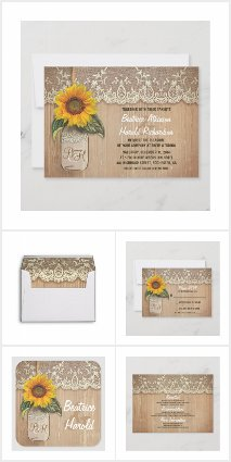 Sunflower and Rustic Mason Jar
