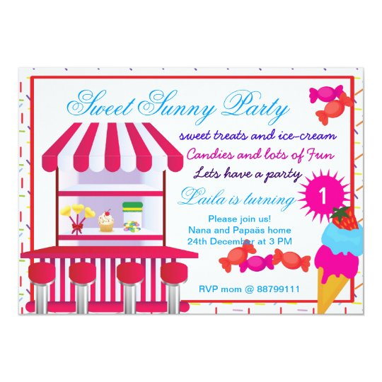 Sweet Sunny Candy birthday invitation