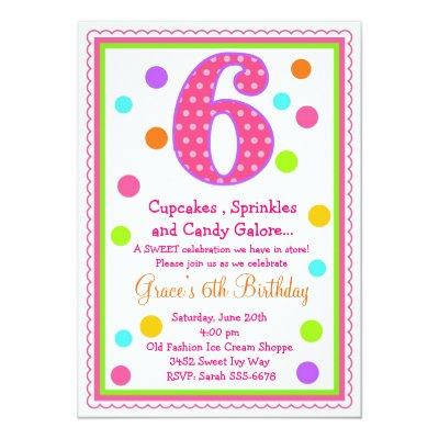 Surprise Candy Cupcake Birthday Invitation – 6th Birthday Invitation