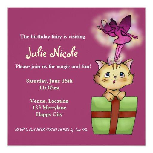 Sweet Tabby Cat and Fairy Birthday Invitation