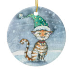Sweet Tabby Cat in Holiday Hat Ornament