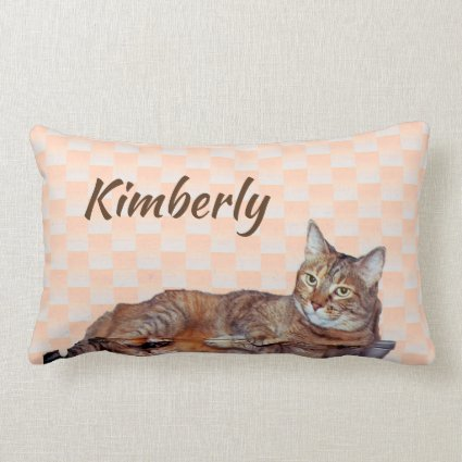 Sweet Tabby Cat with Orange Pattern Pillow