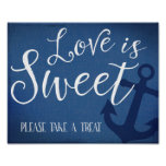 Sweet table nautical wedding sign navy blue poster